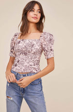 Load image into Gallery viewer, Bondi Puff Sleeve Top in Blossom Tropical