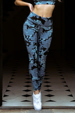 Load image into Gallery viewer, Floral Leaf Print Leggings in Blue Combo