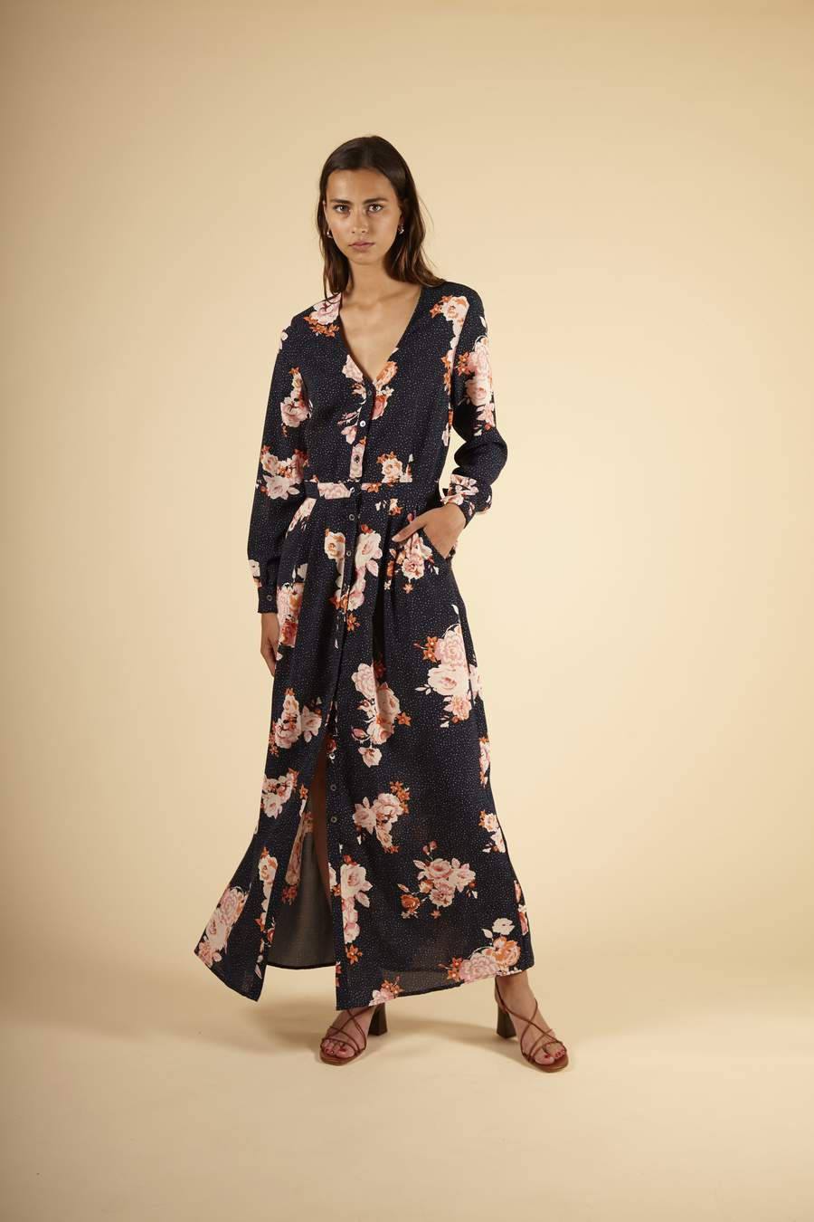 Adelys Dress in Navy Floral Print