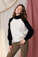 Load image into Gallery viewer, Aleigh Cashmere Blend Turtle Neck in Black/Cream