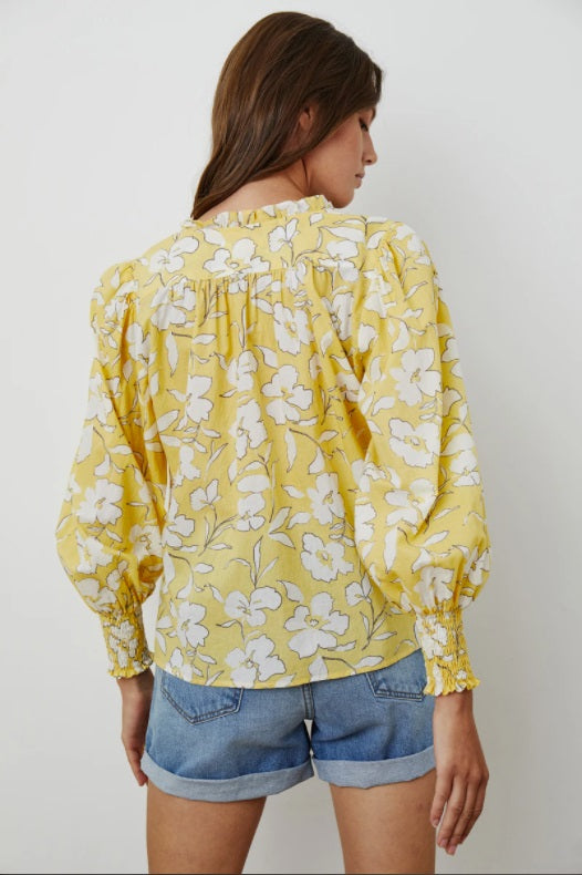 Anissa Peasant Top in Yellow