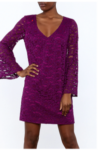 Revue Lace Dress in Purple