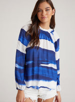 Load image into Gallery viewer, Raglan Sleeve Shirred Neck Blouse in Blue Wave