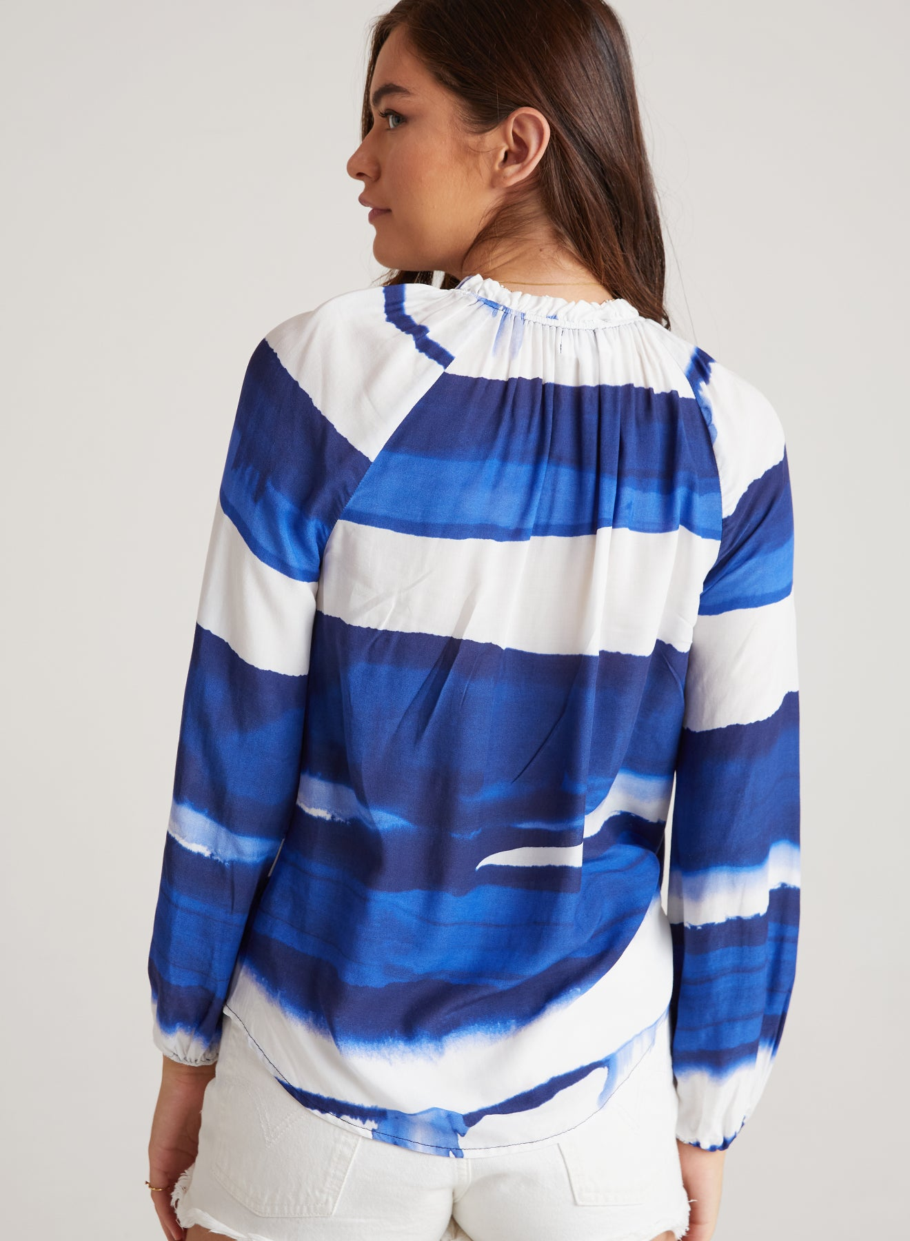 Raglan Sleeve Shirred Neck Blouse in Blue Wave