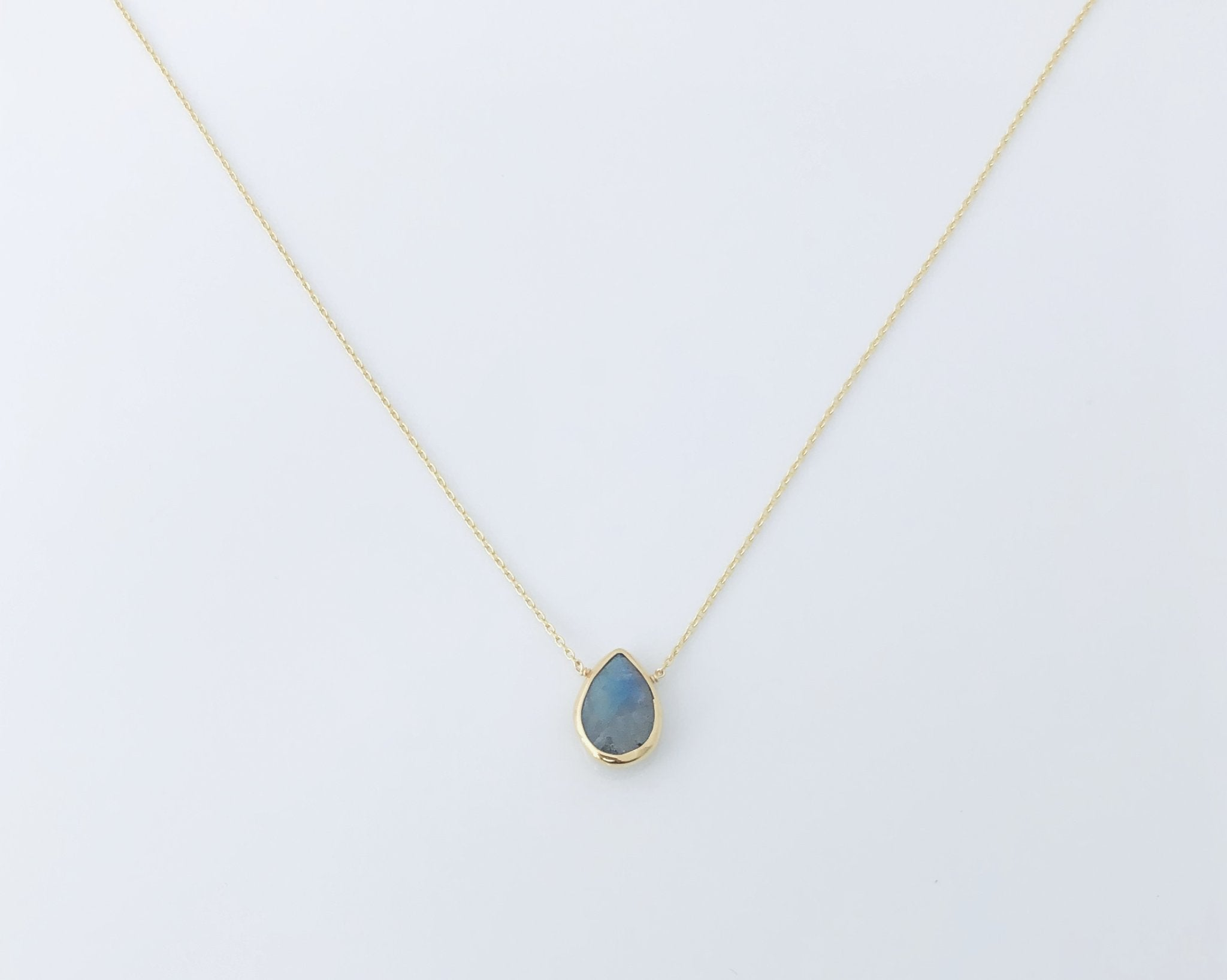Labradorite Drop Gold Necklace