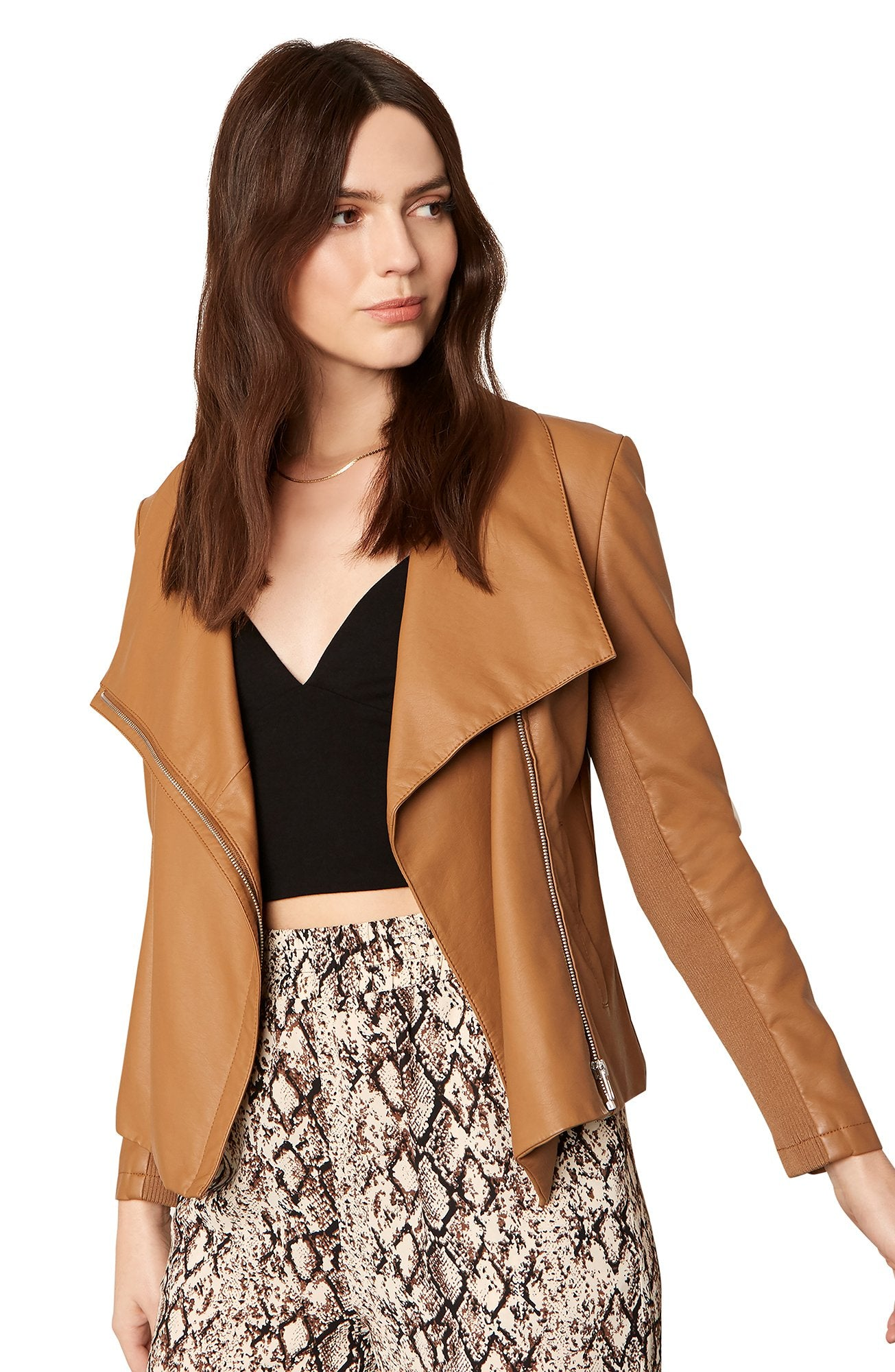 Up To Speed Vegan Leather Jacket in Caramel