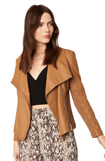 Load image into Gallery viewer, Up To Speed Vegan Leather Jacket in Caramel