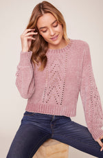 Load image into Gallery viewer, Chenille My Love Sweater in Rose Quartz