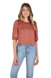 Sleeve Me in Charge Satin Top in Terracotta
