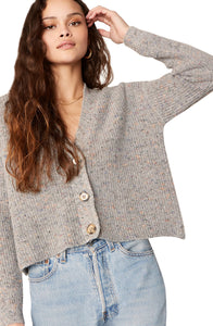 Speckle Agent Cardigan in Heather Grey