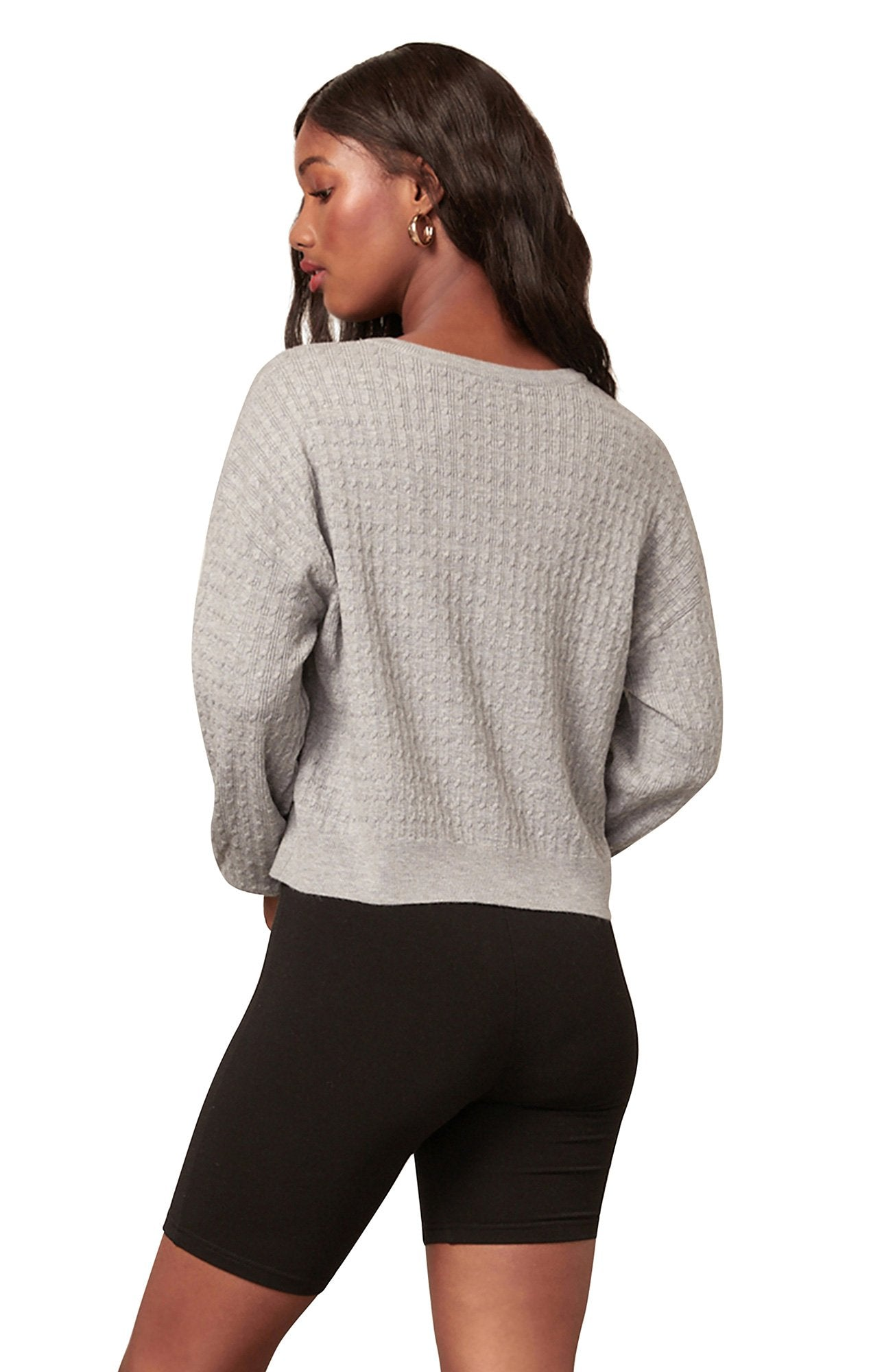 Cable Manners Top in Light Heather Grey