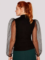 Load image into Gallery viewer, Polka Dot Organza Sleeve Sweater in Black
