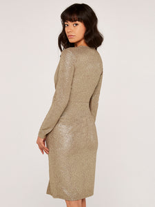 Textured Knot Dress in Gold Foil