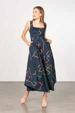 Load image into Gallery viewer, Janie Dress in Navy Stix