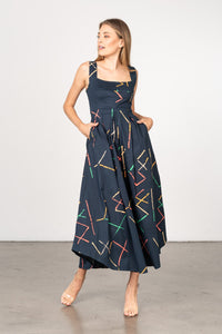 Janie Dress in Navy Stix