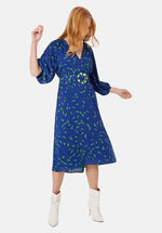 Load image into Gallery viewer, Belted V-Neck Midi Dress in Blue And Green