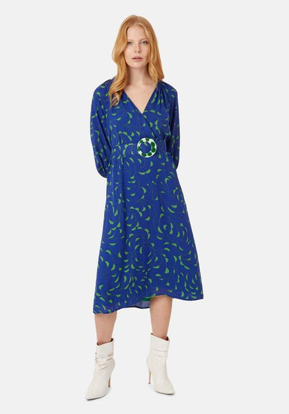 Belted V-Neck Midi Dress in Blue And Green