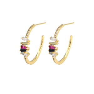 Pave Gemstone Hoop Earrings in 18K Gold