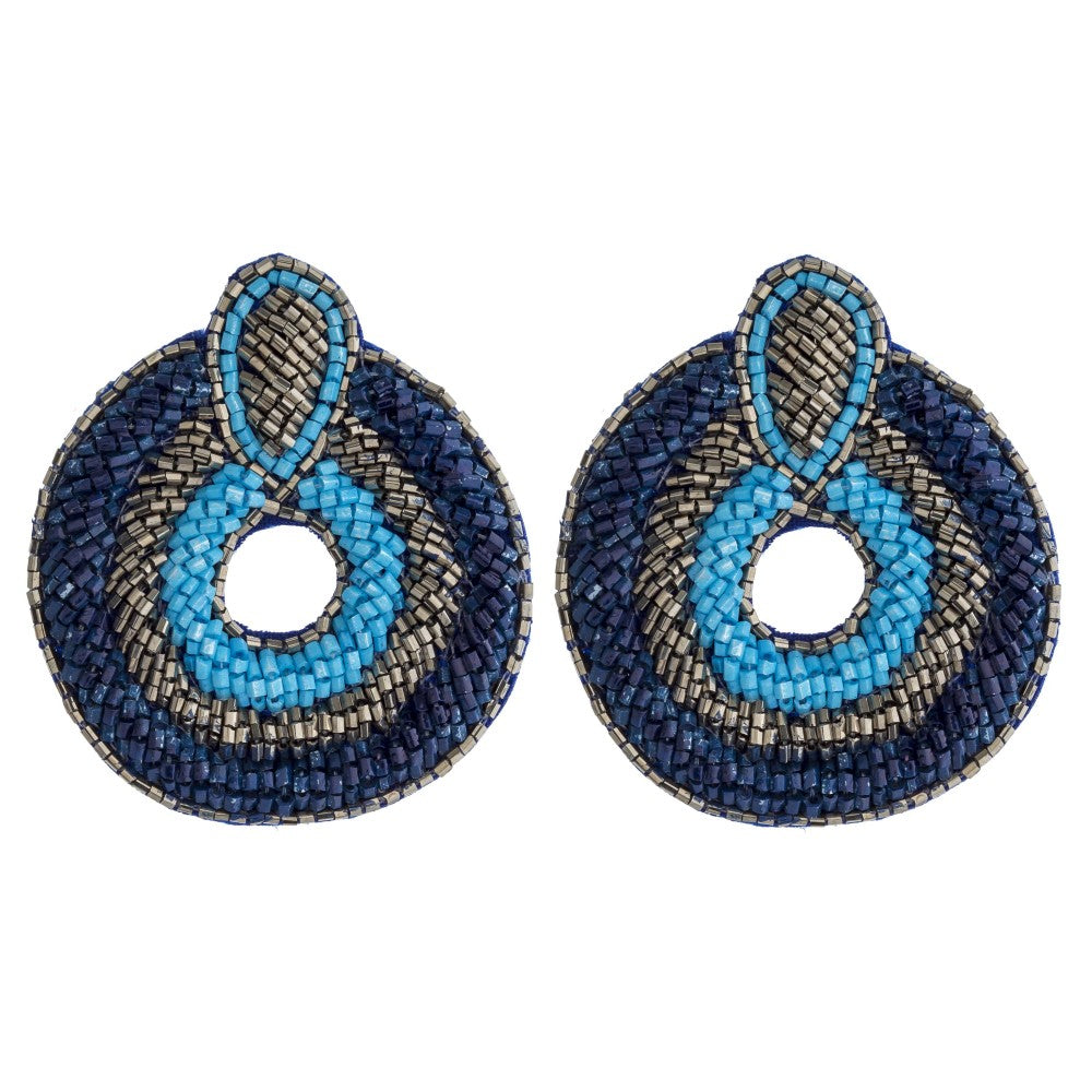 Beaded Oval Boho Earring in Blue Combo