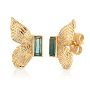 Butterfly Stud Earrings in Blue Tourmaline