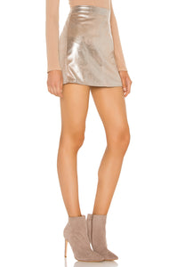 Keller Faux Suede Mini Skirt in Silver Toffee
