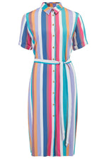 Load image into Gallery viewer, Seaside Stripe Print Shirt Dress