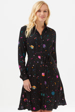 Load image into Gallery viewer, Zadie Cyber Candy Shirt Dress in Black Multi