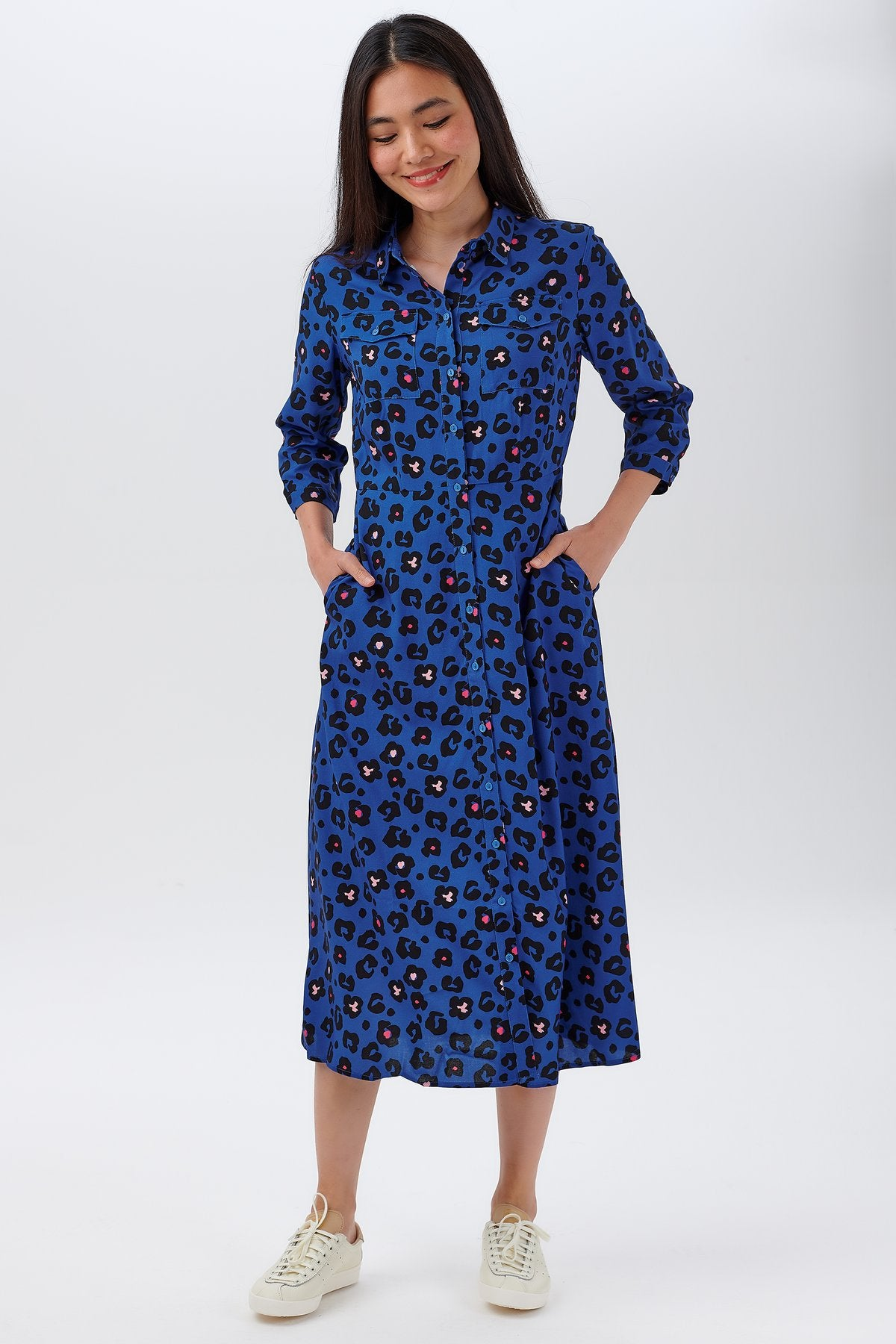 Paola Shirt Dress in Light Navy Floral