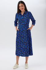 Load image into Gallery viewer, Paola Shirt Dress in Light Navy Floral