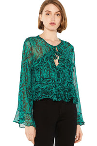 Damaris Chiffon Top in Emerald Green Combo