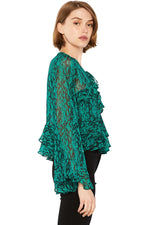 Load image into Gallery viewer, Damaris Chiffon Top in Emerald Green Combo