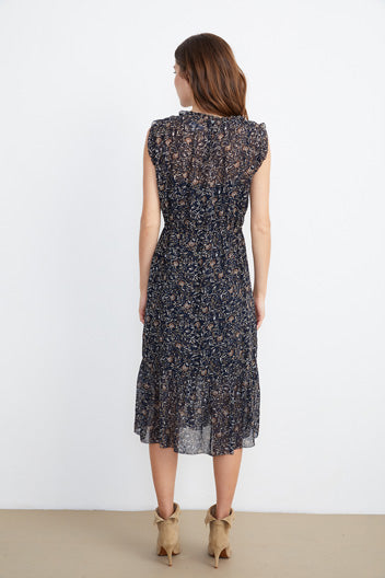 Darlene Dress in Navy Thistle Print