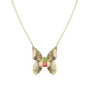 Gem Butterfly Necklace in Watermelon Tourmaline