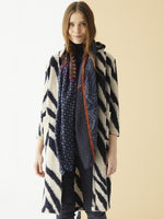 Load image into Gallery viewer, Emma Knit Coat in Zebra Navy/White