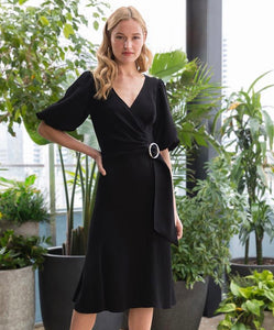 Esmeralda Belted Dress in Black