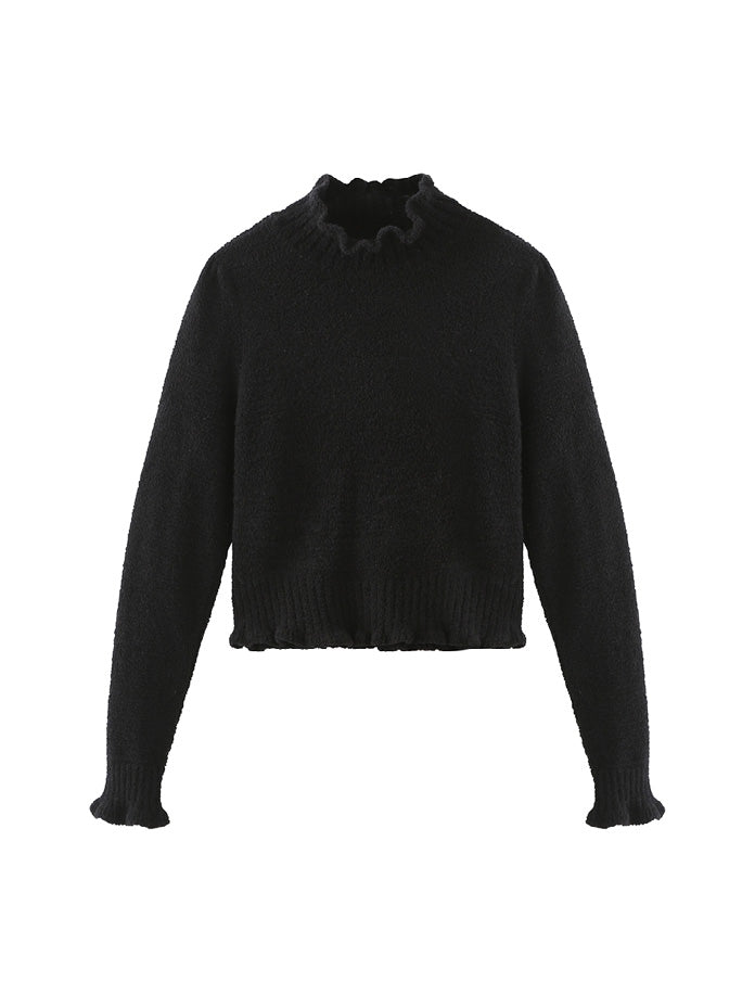 Cropped Ruffle Mock Neck Sweater in Black