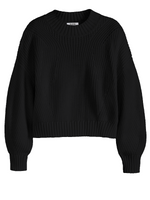 Load image into Gallery viewer, Mia Cotton Crop Sweater in Black