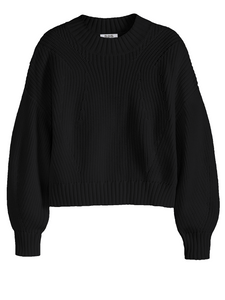 Mia Cotton Crop Sweater in Black