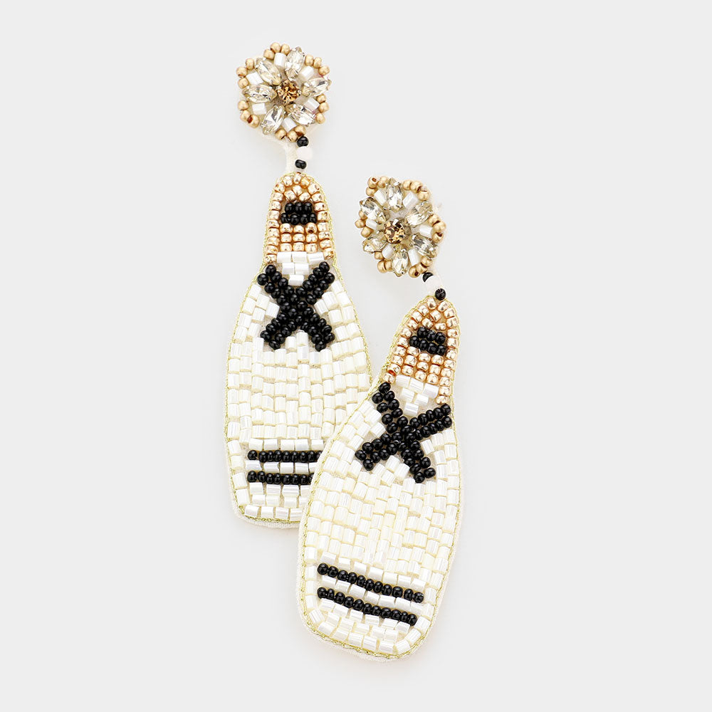 Beaded Cross Bottle Earrings in White