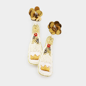 Beaded Crown Champagne Earrings in White