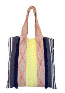 Feria Leather/Linen Tote in Yellow