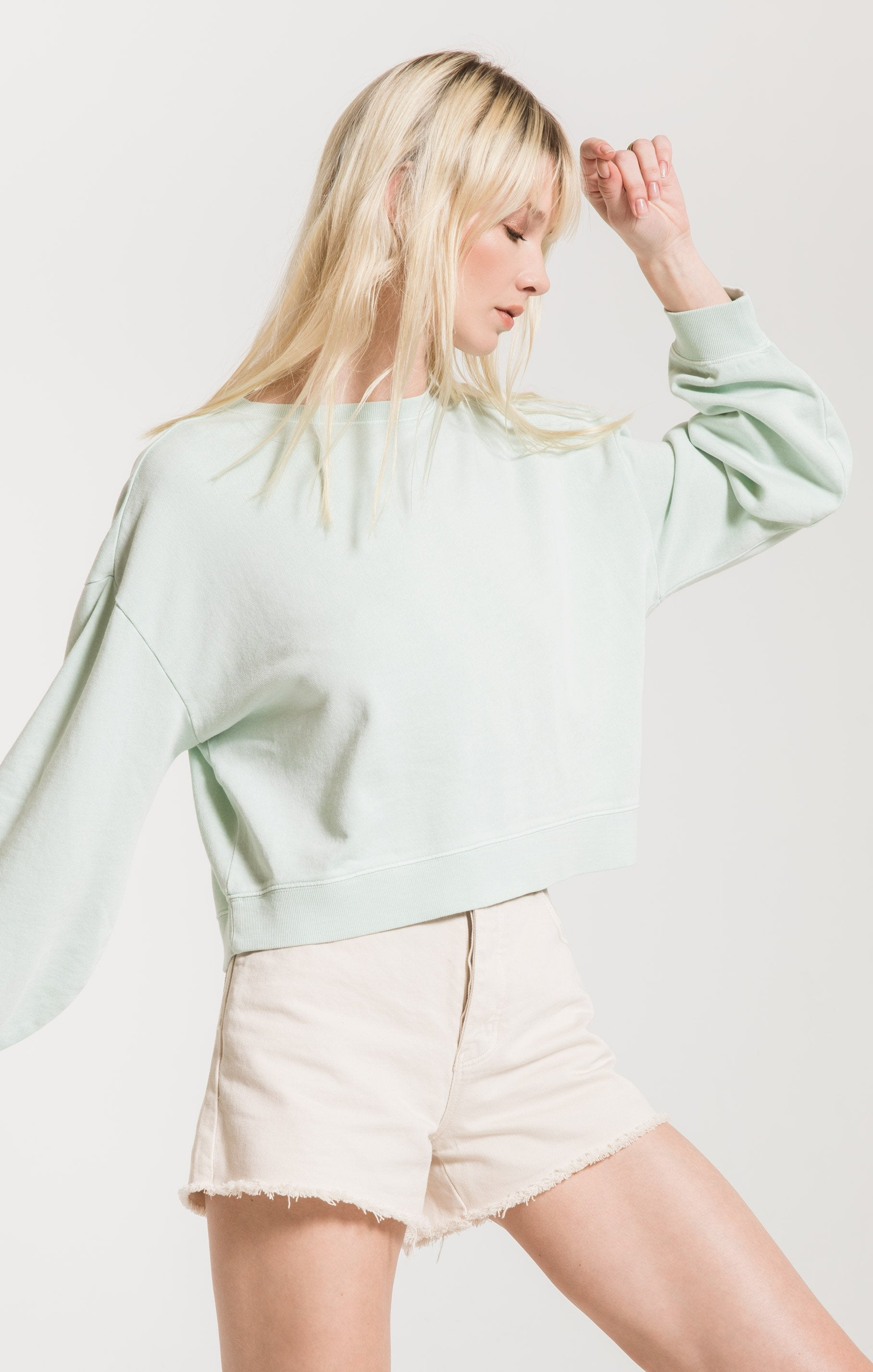 Cotton French Terry Pullover in Mint