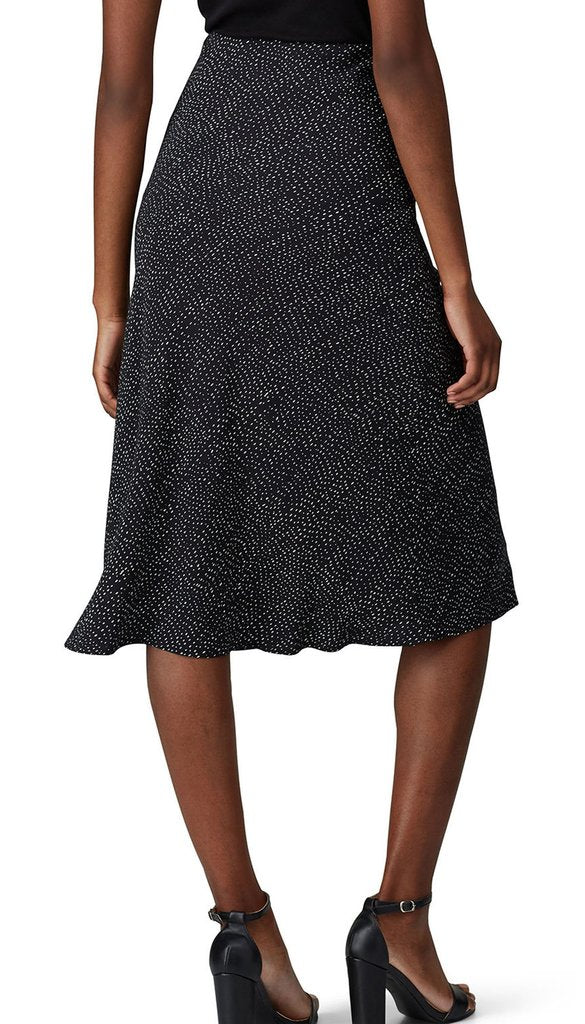 Bias Cut Midi Skirt in Black Print