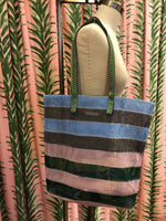 Load image into Gallery viewer, Epice Mesh Tote Bag in Forest Stripe