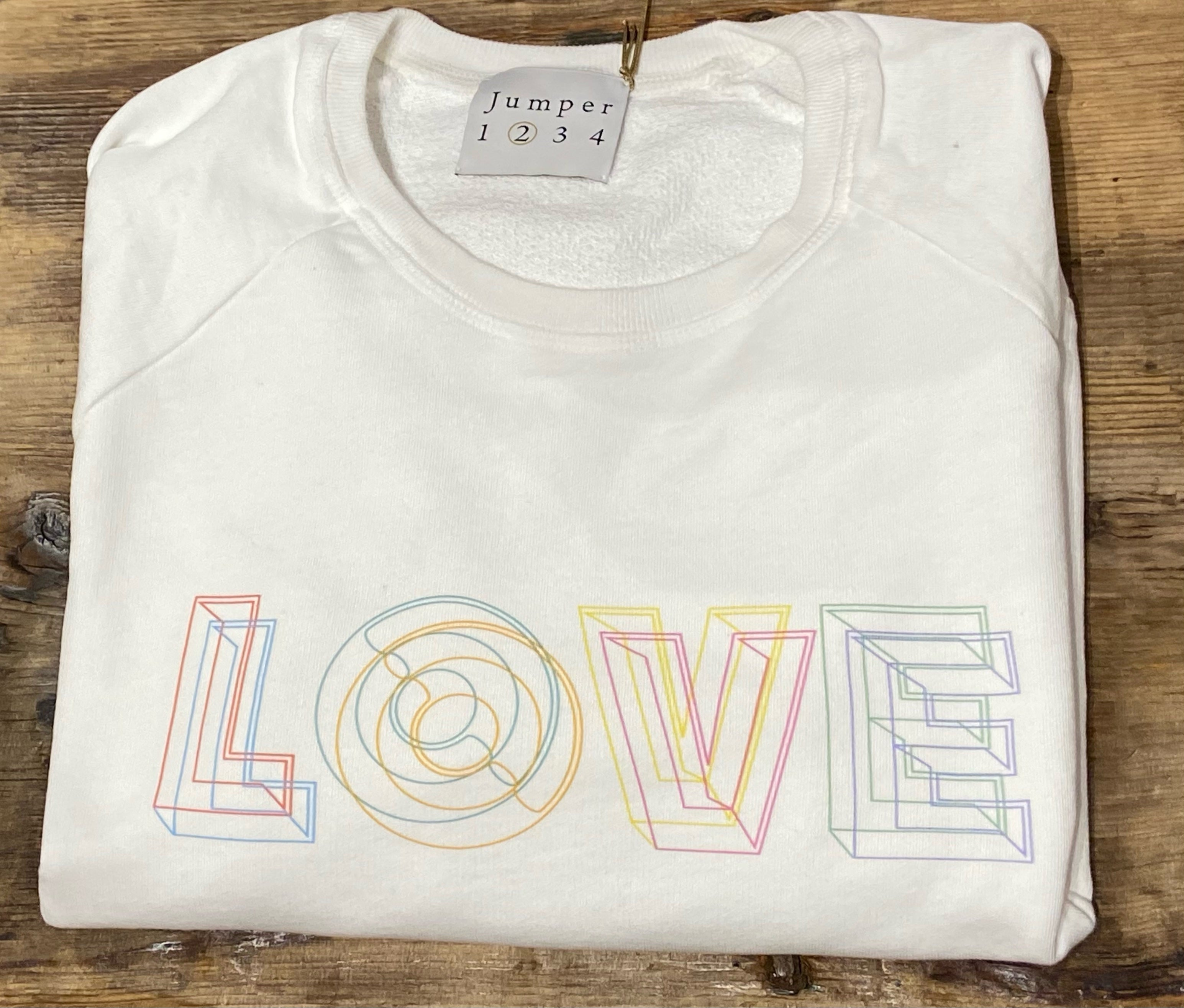 Love Sweatshirt in White Geometric