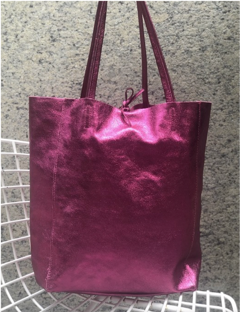 Italian Leather Metallic Tote in Fuchsia