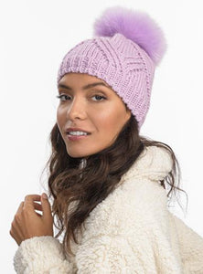 Horizon Faux Fur Pom Beanie in Orchid