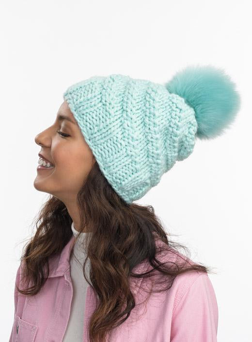Highline Faux Fur Pom Beanie in Mint