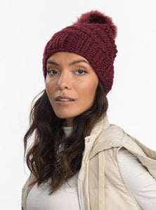 Highline Faux Fur Pom Beanie in Burgundy