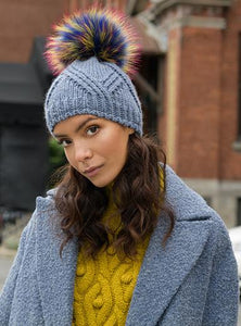 Horizon Faux Fur Pom Beanie in Denim